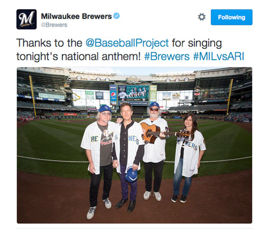 The Baseball Project sings the National Anthem at the Brewers